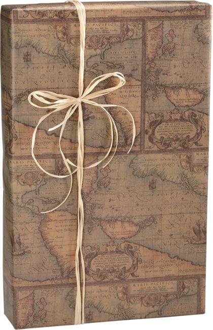 "World Map/Kraft Gift Wrap, 24"" x 100'"