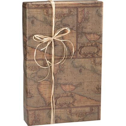 "World Map/Kraft Gift Wrap, 24"" x 417'"