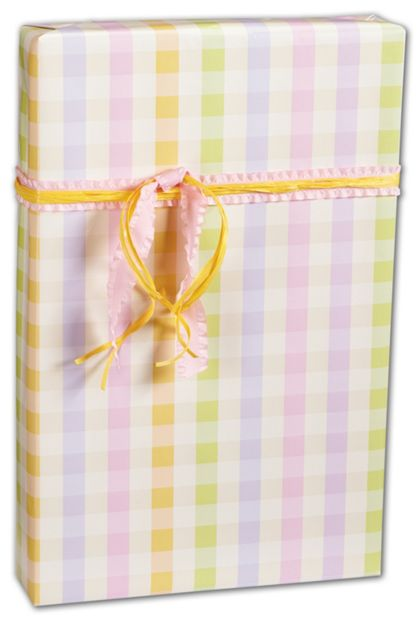 "Pastel Plaid Gift Wrap, 24"" x 100'"