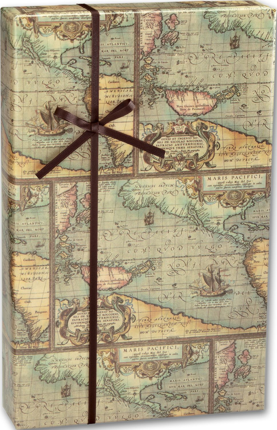 world map gift wrap 24 x 100