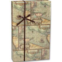 "World Map Gift Wrap, 24"" x 100'"