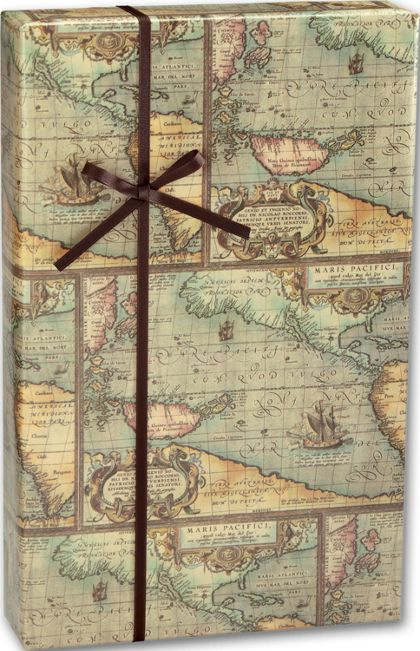 "World Map Gift Wrap, 24"" x 100'"