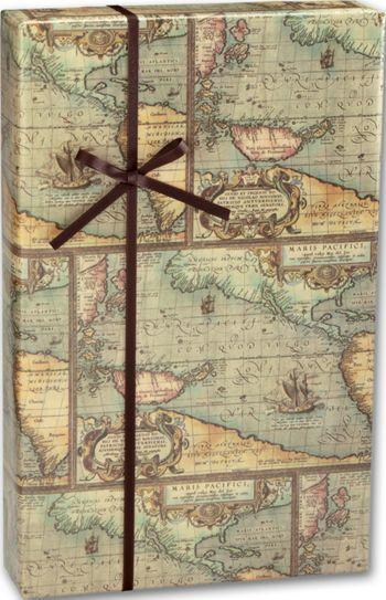 World Map Gift Wrap, 24