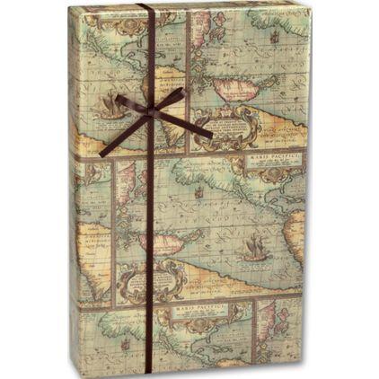 "World Map Gift Wrap, 24"" x 417'"