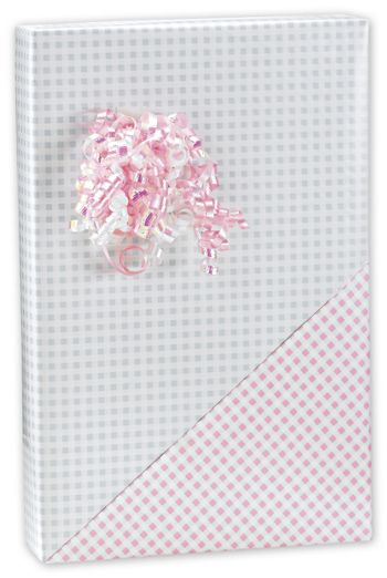 Baby Gingham Reversible Gift Wrap, 24