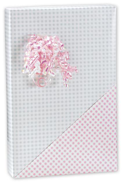 "Baby Gingham Reversible Gift Wrap, 24"" x 100'"