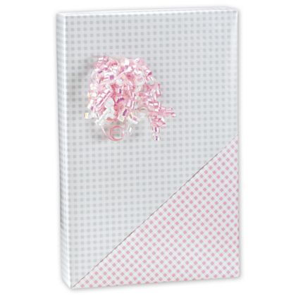 "Baby Gingham Reversible Gift Wrap, 24"" x 100'"