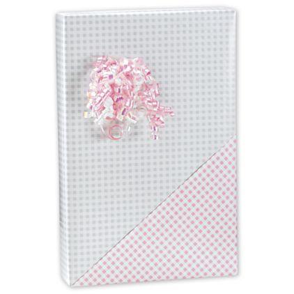"Baby Gingham Reversible Gift Wrap, 24"" x 417'"