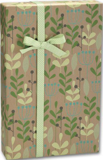 Leaves & Berries/Kraft Gift Wrap, 24