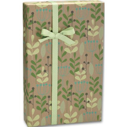 "Leaves & Berries/Kraft Gift Wrap, 24"" x 100'"