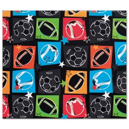 "Sports Fanatic Gift Wrap, 24"" x 100'"
