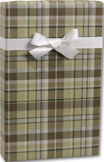 Kensington Plaid/Kraft Gift Wrap, 24