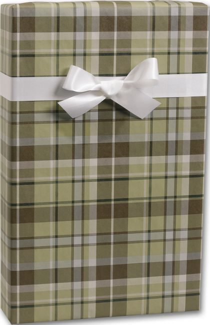 "Kensington Plaid/Kraft Gift Wrap, 24"" x 100'"