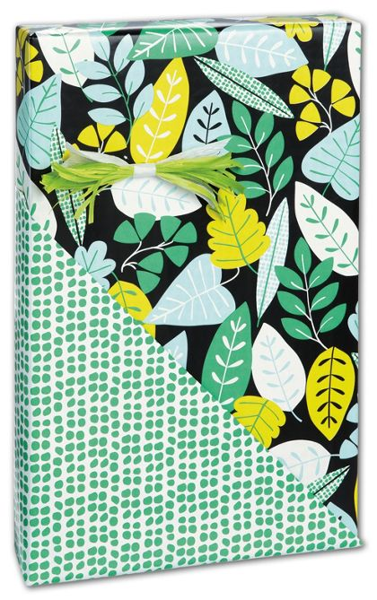 """Leaf Sampler Reversible Gift Wrap, 24"""" x 100'"""