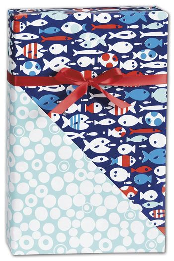 Red Fish/Blue Fish Reversible Gift Wrap, 24