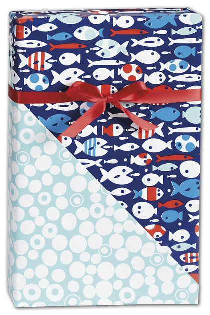 "Red Fish/Blue Fish Reversible Gift Wrap, 24"" x 100'"