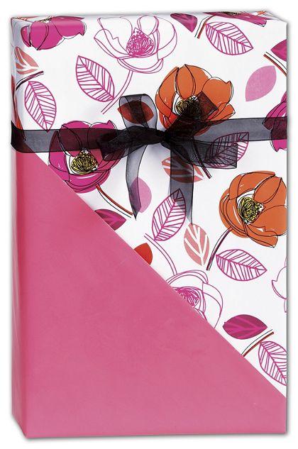 "Florabunda Reversible Gift Wrap, 24"" x 100'"