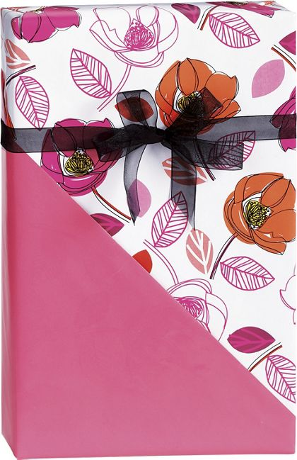 "Florabunda Reversible Gift Wrap, 24"" x 417'"