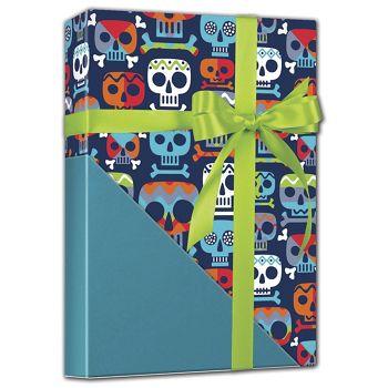 Skull Totem Reversible Gift Wrap, 24