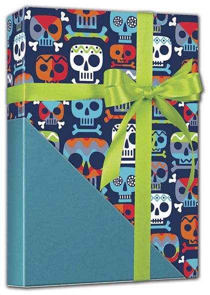 "Skull Totem Reversible Gift Wrap, 24"" x 417'"