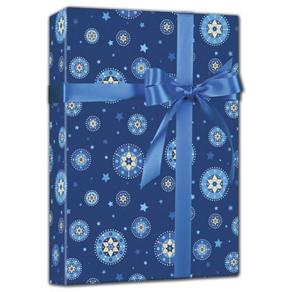 "Starry Chanukah Reversible Gift Wrap, 24"" x 100'"