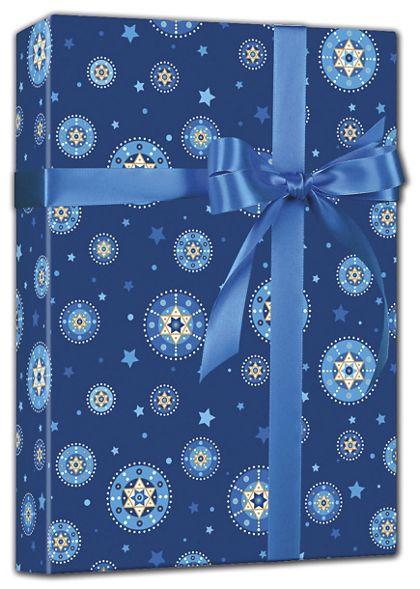 "Starry Chanukah Reversible Gift Wrap, 24"" x 417'"