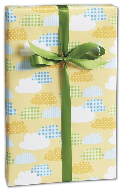 "Gingham Clouds Gift Wrap, 24"" x 100'"