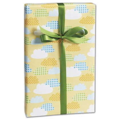 "Gingham Clouds Gift Wrap, 24"" x 417'"