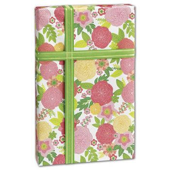 """Rose Floral Gift Wrap, 24"""" x 100'"""