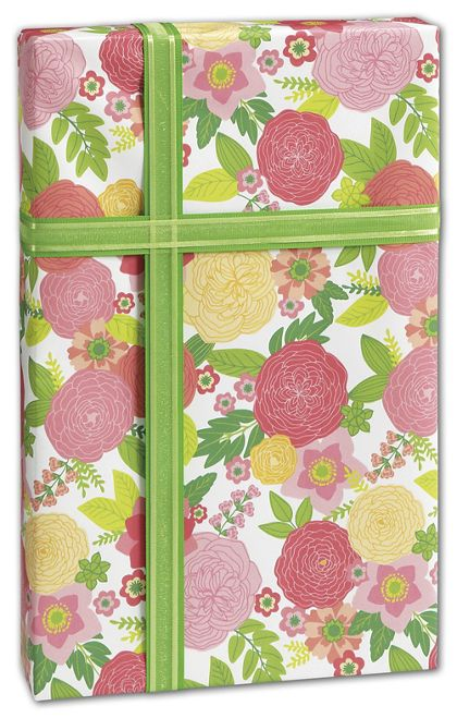 "Rose Floral Gift Wrap, 24"" x 100'"