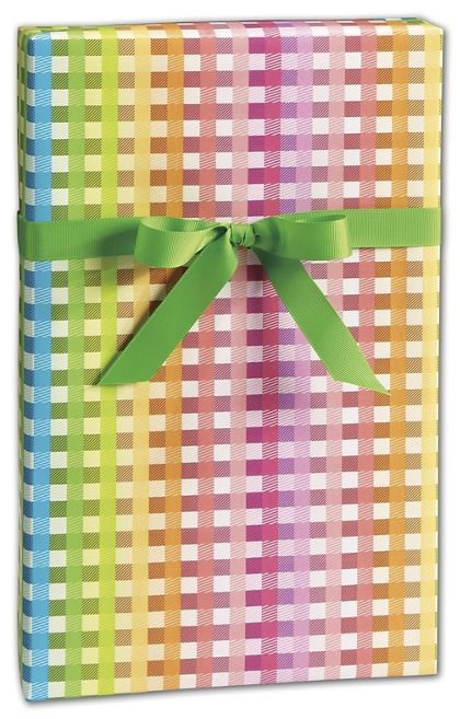 "Rainbow Gingham Gift Wrap, 24"" x 100'"