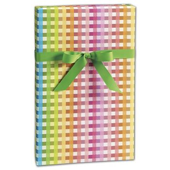 Rainbow Gingham Gift Wrap, 24