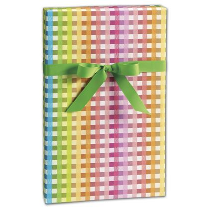 "Rainbow Gingham Gift Wrap, 24"" x 417'"