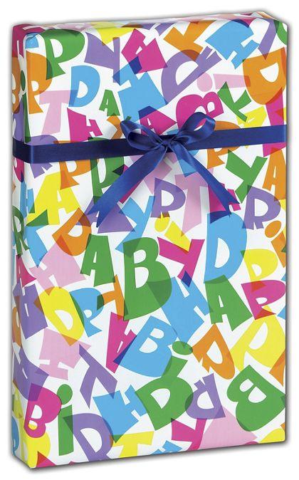 "Happy Birthday Gift Wrap, 24"" x 100'"