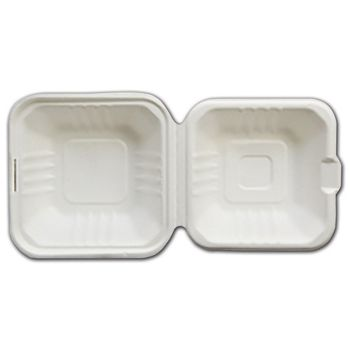 White EmpressTM Bagasse Hinged Containers, 6 x 6 x 3
