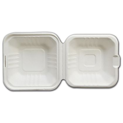 """White EmpressTM Bagasse Hinged Containers, 6 x 6 x 3"""""""