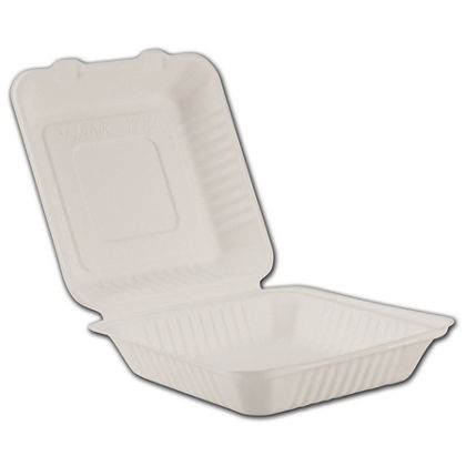 White EmpressTM Bagasse Hinged Containers, 1 Compartment