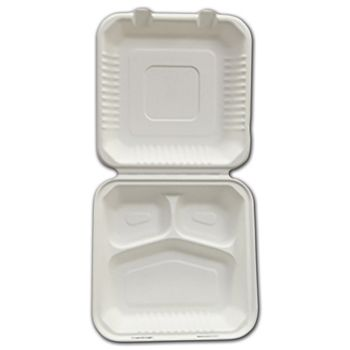 White EmpressTM Bagasse Hinged Containers, 3 Compartments