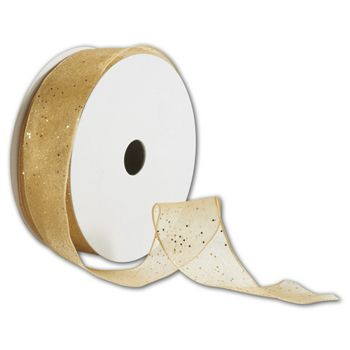 Gold Wired-Edge Flash Ribbon, 1 1/2