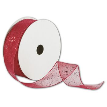"Red Wired-Edge Flash Ribbon, 1 1/2"" x 25 Yds"