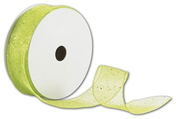Citrus Wired-Edge Flash Ribbon, 1 1/2