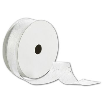 White/Silver Wired-Edge Flash Ribbon, 1 1/2