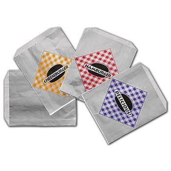 Printed Foil Jumbo Cheeseburger Bags, 6 1/2x1 1/2x7 3/4