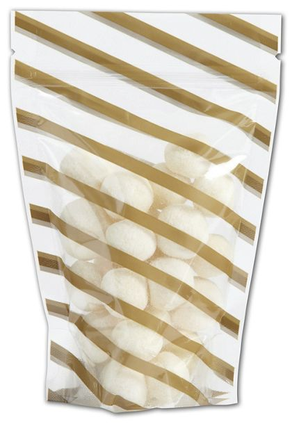 "Candy Stripes Food-Safe Zipper Pouches, 4 x 6"" + 2"" BG"