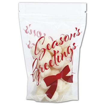 "Season's Greetings Food-Safe Zipper Pouches, 4x6""+2"" BG"
