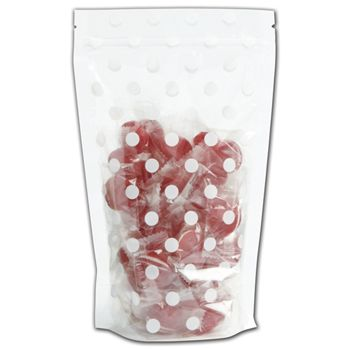 White Dots Food-Safe Zipper Pouches, 5 x 8