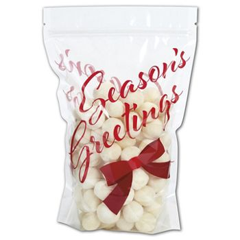"Season's Greetings Food-Safe Zipper Pouches 6x9""+2 1/2"" BG"
