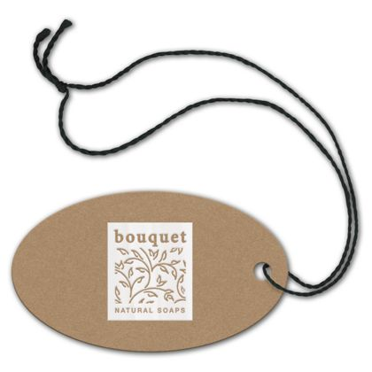"""Foil Stamped Tags, Oval, 1 3/4 x 3"""""""