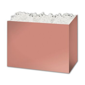 Metallic Rose Gold Gift Basket Boxes, 10 1/4 x 6 x 7 1/2