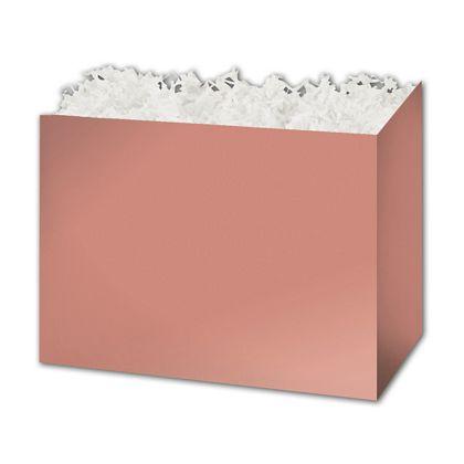 """Metallic Rose Gold Gift Basket Boxes, 10 1/4 x 6 x 7 1/2"""""""